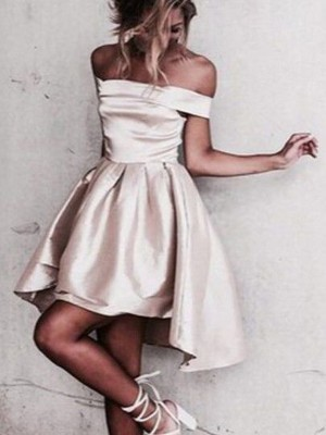 A-Line/Princess Sleeveless Off-the-Shoulder Short/Mini Satin Dresses