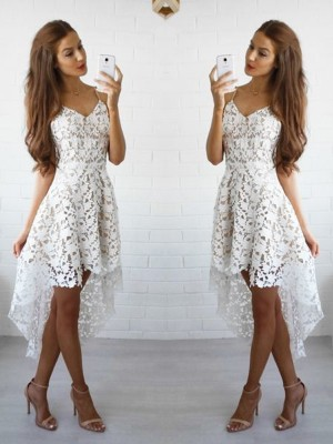 A-Line/Princess Sleeveless Spaghetti Straps Short/Mini Lace Dresses