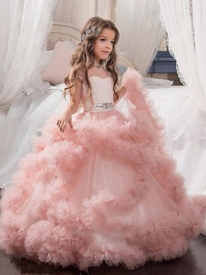 Ball Gown Short Sleeves Jewel Crystal Floor-Length Tulle Flower Girl Dresses