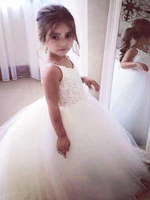 Ball Gown Sleeveless Jewel Lace Floor-Length Tulle Flower Girl Dresses