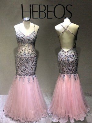 Trumpet/Mermaid Sleeveless V-neck Sequin Floor-Length Tulle Dresses