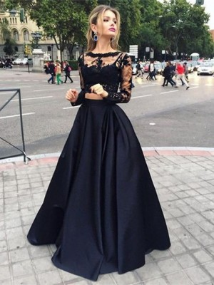 Ball Gown Long Sleeves Bateau Beading Floor-Length Satin Dresses