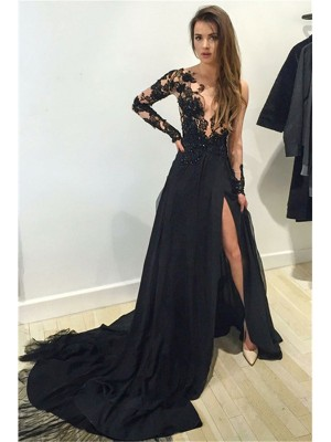 A-Line/Princess Long Sleeves Bateau Lace Court Train Chiffon Dresses