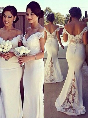 Trumpet/Mermaid Sleeveless Off-the-Shoulder Lace Sweep/Brush Train Satin Bridesmaid Dresses