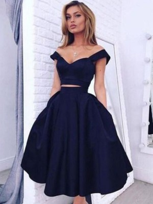 A-Line/Princess Sleeveless Off-the-Shoulder Knee-Length Satin Two Piece Dresses