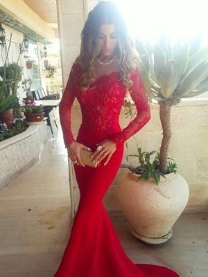 Trumpet/Mermaid Long Sleeves Off-the-Shoulder Lace Sweep/Brush Train Satin Dresses