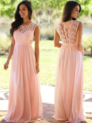 A-Line/Princess Sleeveless Scoop Applique Floor-Length Chiffon Bridesmaid Dresses