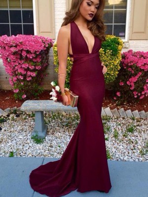 Trumpet/Mermaid Sleeveless V-neck Sweep/Brush Train Spandex Dresses