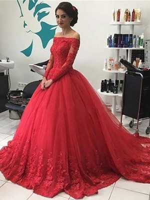 Ball Gown Long Sleeves Off-the-Shoulder Lace Court Train Tulle Dresses