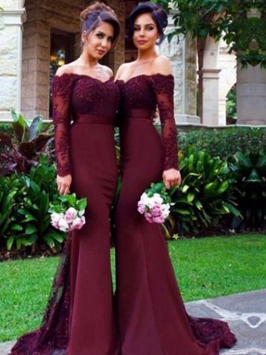 Trumpet/Mermaid Long Sleeves Off-the-Shoulder Sweep/Brush Train Satin Bridesmaid Dresses