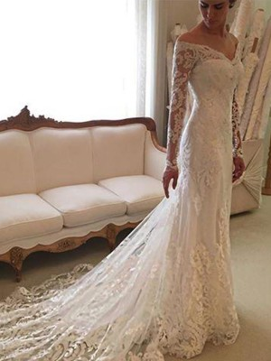 Sheath/Column Long Sleeves Off-the-Shoulder Court Train Lace Wedding Dresses