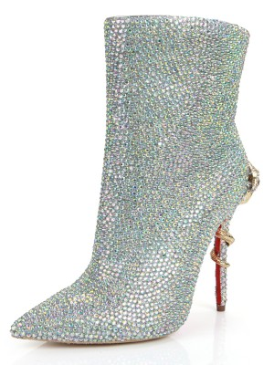 Women's Stiletto Heel Closed Toe Sheepskin With Rhinestone Mid-Calf Silver Boots