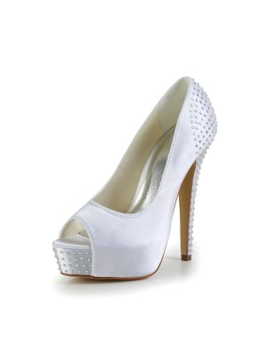 Women's Satin Stiletto Heel Peep Toe Platform White Wedding Shoes With Rhinestone