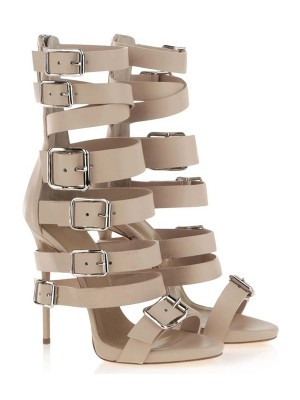 Women's Stiletto Heel Suede Peep Toe Platform With Buckle Sandal Mid-Calf Champagne Boots