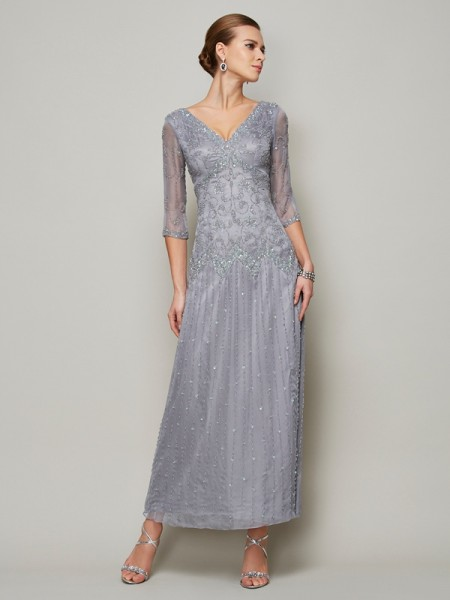 Sheath/Column 1/2 Sleeves V-neck Beading Ankle-Length Elastic Woven Satin Mother of the Bride Dresses
