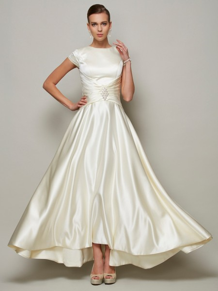 A-Line/Princess Short Sleeves Scoop Beading Floor-Length Satin Mother of the Bride Dresses