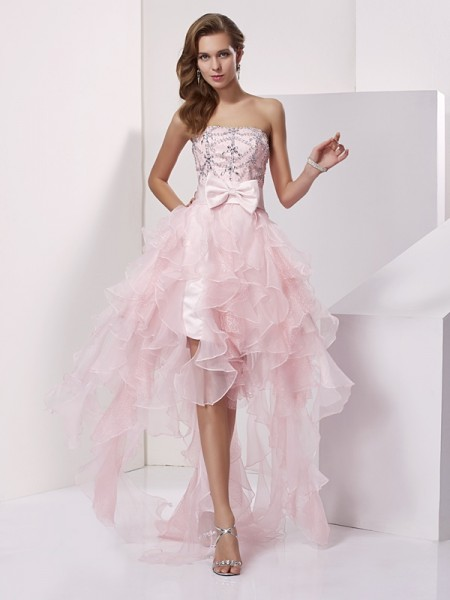 A-Line/Princess Sleeveless Strapless Beading Asymmetrical Organza Dresses