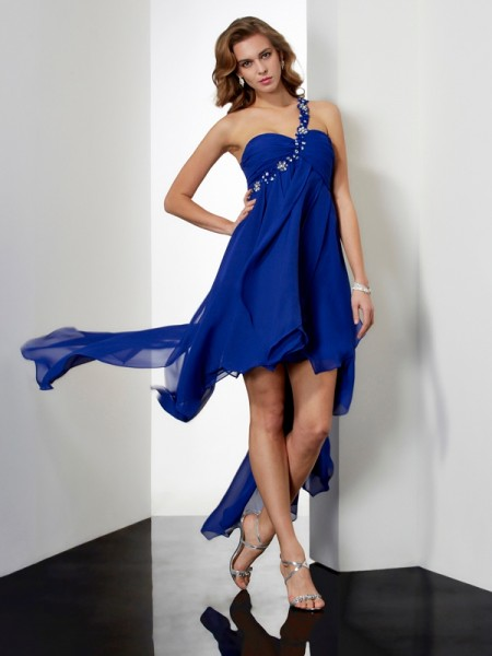 A-Line/Princess Sleeveless One-Shoulder Beading Asymmetrical Chiffon Dresses