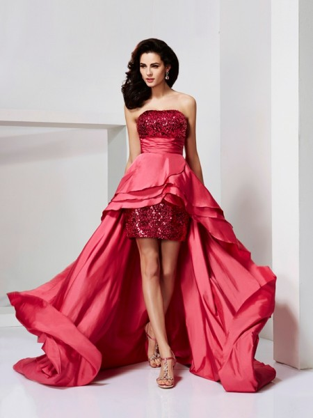 A-Line/Princess Sleeveless Strapless Lace Asymmetrical Taffeta Dresses