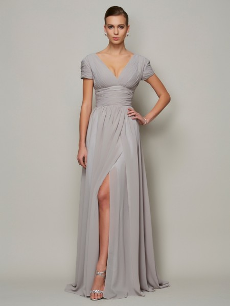 A-Line/Princess Short Sleeves V-neck Floor-Length Chiffon Mother of the Bride Dresses