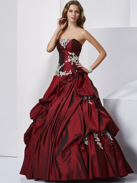 Ball Gown Sleeveless Sweetheart Beading Floor-Length Taffeta Quinceanera Dresses