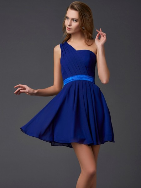 A-Line/Princess Sleeveless One-Shoulder Pleats Short/Mini Chiffon Dresses