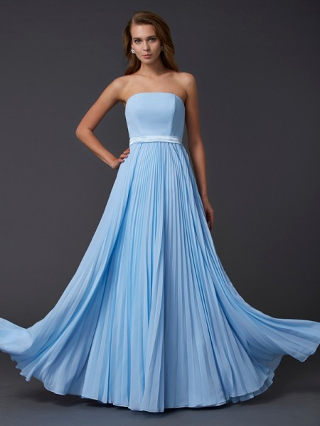 A-Line/Princess Sleeveless Strapless Ruched Floor-Length Chiffon Dresses