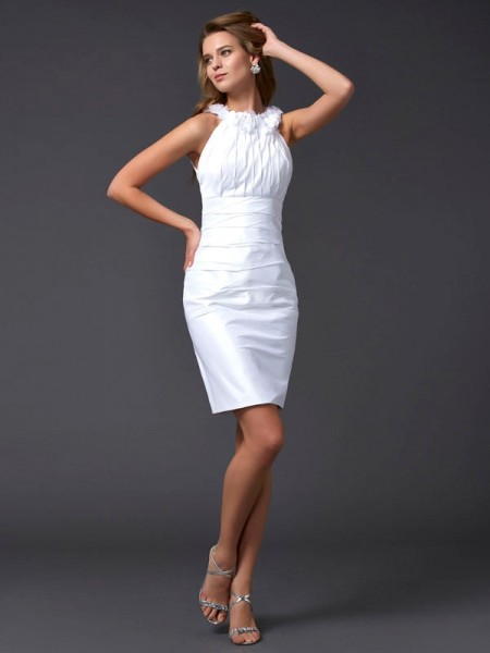 Sheath/Column Sleeveless High Neck Hand-Made Flower Short/Mini Taffeta Dresses