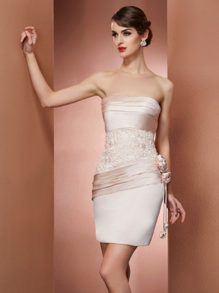 Sheath/Column Sleeveless Strapless Hand-Made Flower Short/Mini Satin Dresses