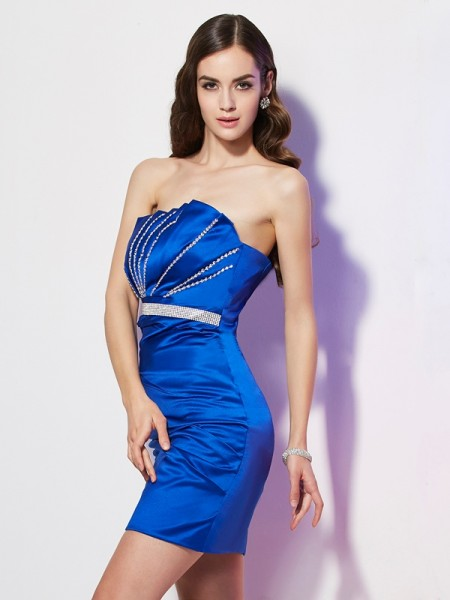 Sheath/Column Sleeveless Strapless Beading Short/Mini Satin Dresses