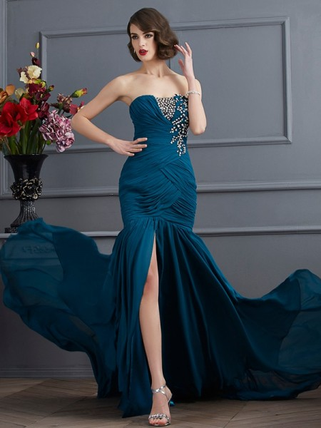 Trumpet/Mermaid Sleeveless Strapless Beading Sweep/Brush Train Chiffon Dresses