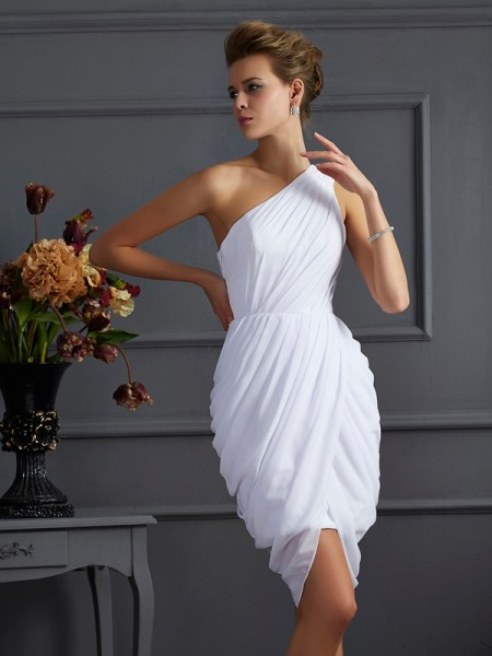 Sheath/Column Sleeveless One-Shoulder Pleats Short/Mini Chiffon Dresses