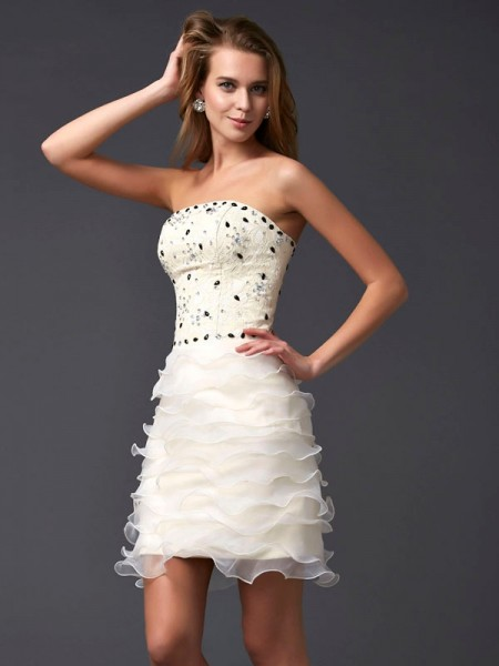 Sheath/Column Sleeveless Strapless Beading Short/Mini Tulle Dresses