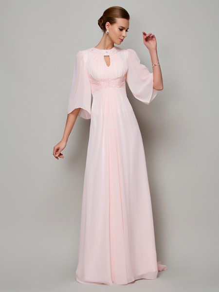 A-Line/Princess 1/2 Sleeves High Neck Beading Sweep/Brush Train Chiffon Mother of the Bride Dresses