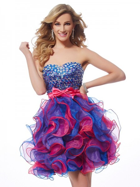 A-Line/Princess Sleeveless Sweetheart Sequin Short/Mini Organza Dresses