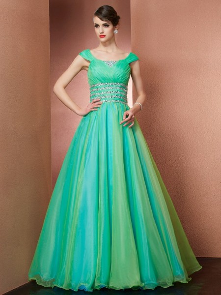 Ball Gown Sleeveless Off-the-Shoulder Beading Floor-Length Satin Dresses