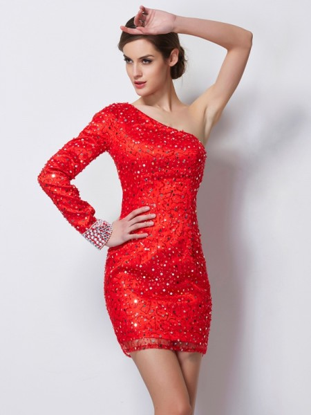 Sheath/Column Long Sleeves One-Shoulder Beading Short/Mini Elastic Woven Satin Dresses