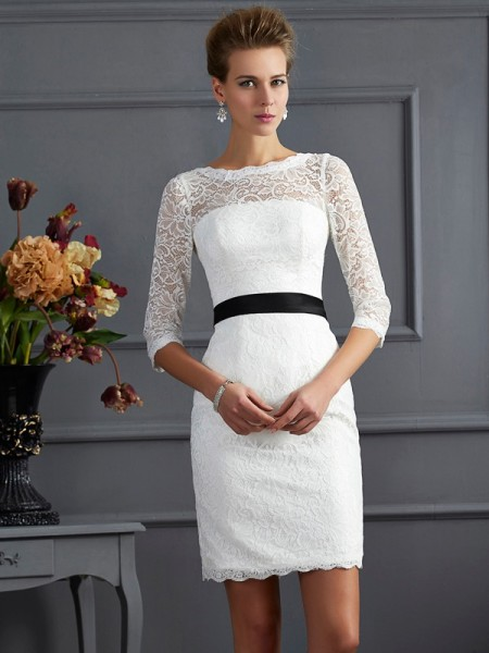 Sheath/Column 3/4 Sleeves Scoop Sash/Ribbon/Belt Short/Mini Lace Mother of the Bride Dresses