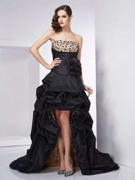 A-Line/Princess Sleeveless Strapless Beading Asymmetrical Taffeta Dresses