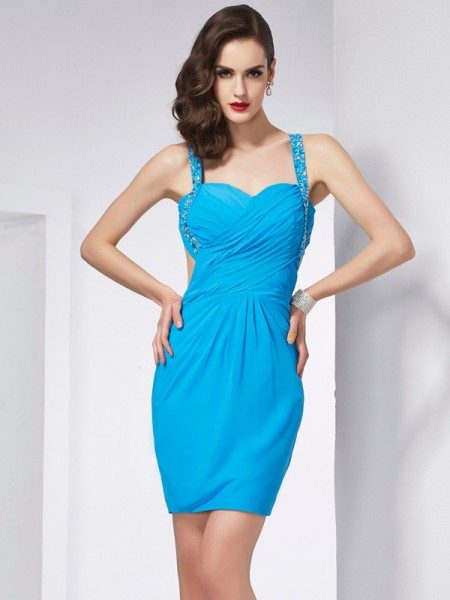 Sheath/Column Sleeveless Spaghetti Straps Beading Short/Mini Chiffon Dresses