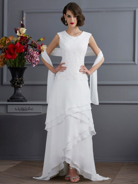 Sheath/Column Sleeveless Bateau Lace Asymmetrical Chiffon Mother of the Bride Dresses