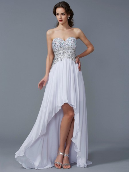 A-Line/Princess Sleeveless Sweetheart Beading Asymmetrical Chiffon Dresses