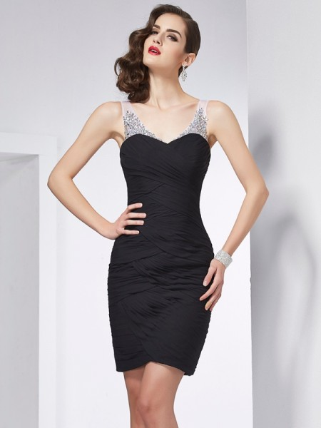 Sheath/Column Sleeveless Straps Beading Short/Mini Chiffon Dresses
