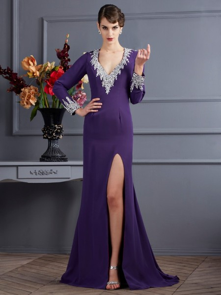 Trumpet/Mermaid Long Sleeves V-neck Beading Sweep/Brush Train Chiffon Dresses