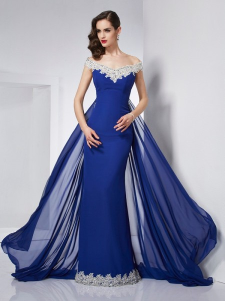 Trumpet/Mermaid Sleeveless Off-the-Shoulder Applique Floor-Length Chiffon Dresses