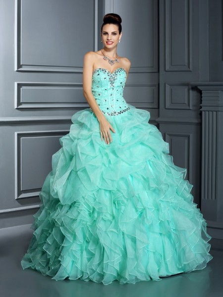Ball Gown Sleeveless Sweetheart Beading Floor-Length Organza Quinceanera Dresses