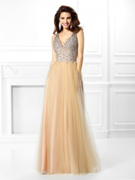 Ball Gown Sleeveless V-neck Beading Floor-Length Satin Dresses
