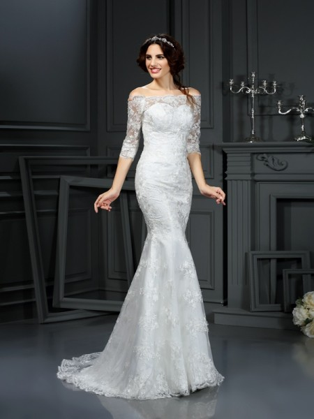 Sheath/Column 1/2 Sleeves Off-the-Shoulder Lace Sweep/Brush Train Lace Wedding Dresses