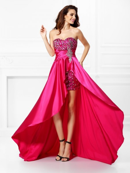 A-Line/Princess Sleeveless Sweetheart Beading Asymmetrical Elastic Woven Satin Dresses