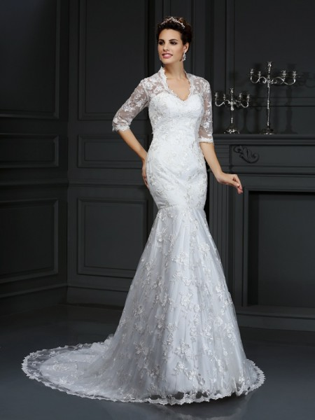 Trumpet/Mermaid 1/2 Sleeves V-neck Lace Court Train Lace Wedding Dresses